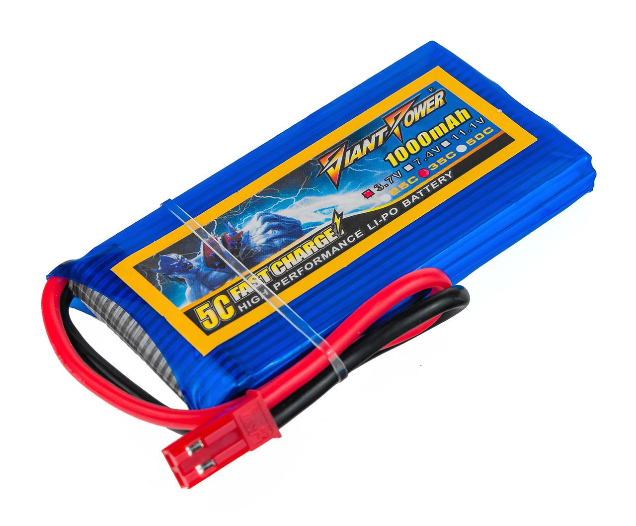 Аккумулятор Giant Power Li-Pol 1000mAh 3.7V 1S 35C 8x34x65мм JST
