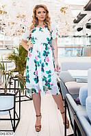 Женское стильное шифоновое платье с цветочным принтом батал