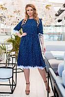 Женское стильное шифоновое платье с кружевом и принтом звездочки батал