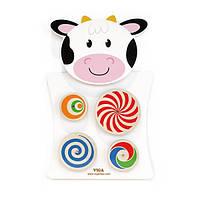Бизиборд Viga Toys Коровка с узорчатыми кругами (50677)