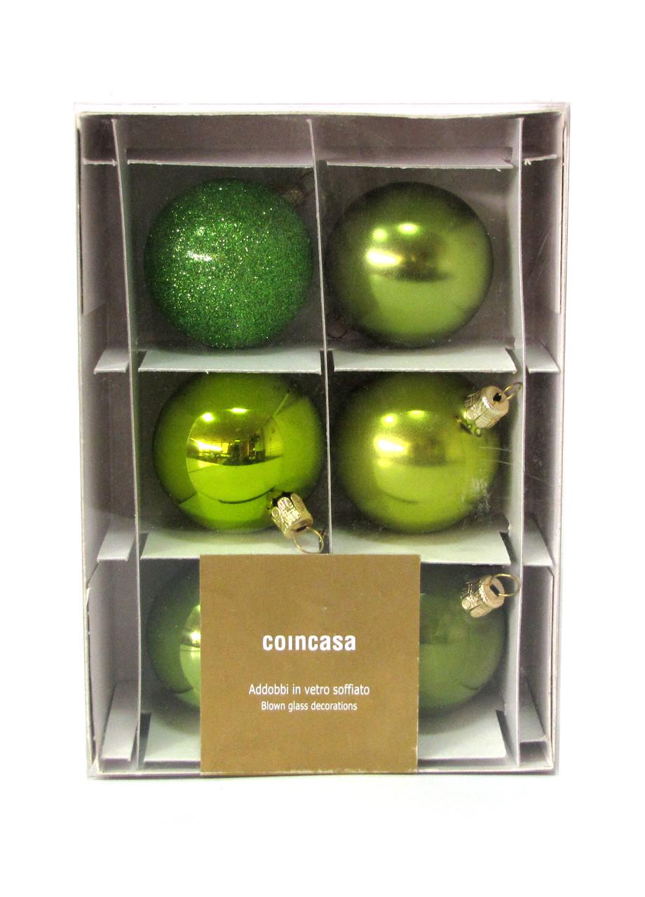 Набір ялинкових кульок (6шт) Coincasa D=5см Салатовий