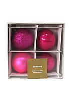 Набор елочных шаров  (4шт) Coincasa D=7см Фуксия