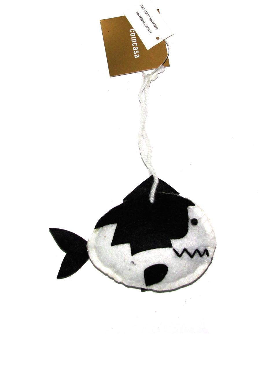 """Набор елочных игрушек """"Рыбка"""" (3шт) Coincasa 10х7см Белый, Черный"""