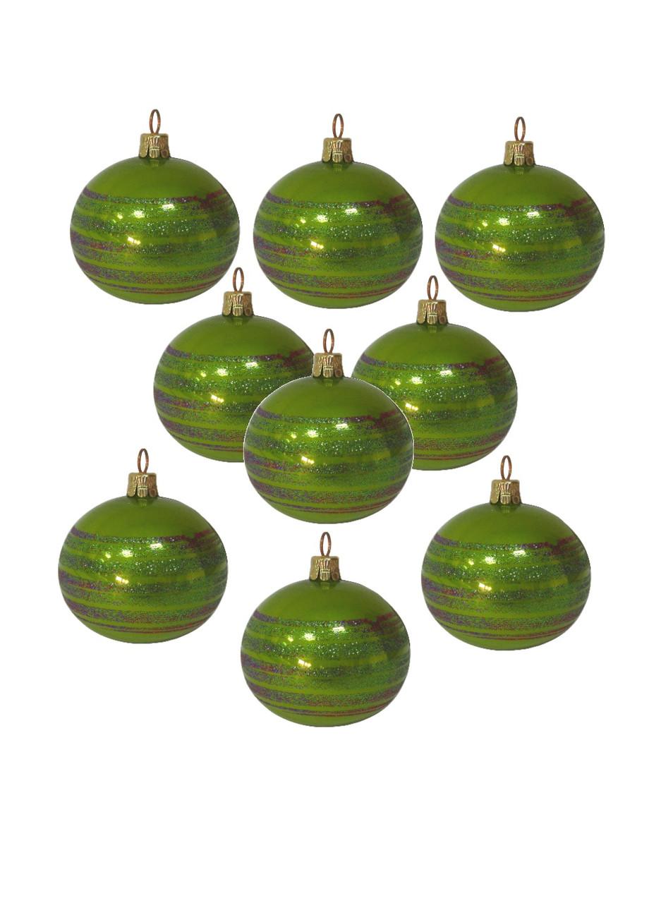Набір ялинкових кульок (9шт) Coincasa 26х14х5,5см Салатовий