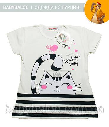 """Красивая футболка  для девочки """"Кошка"""" (от 1 до 4 лет), фото 2"""