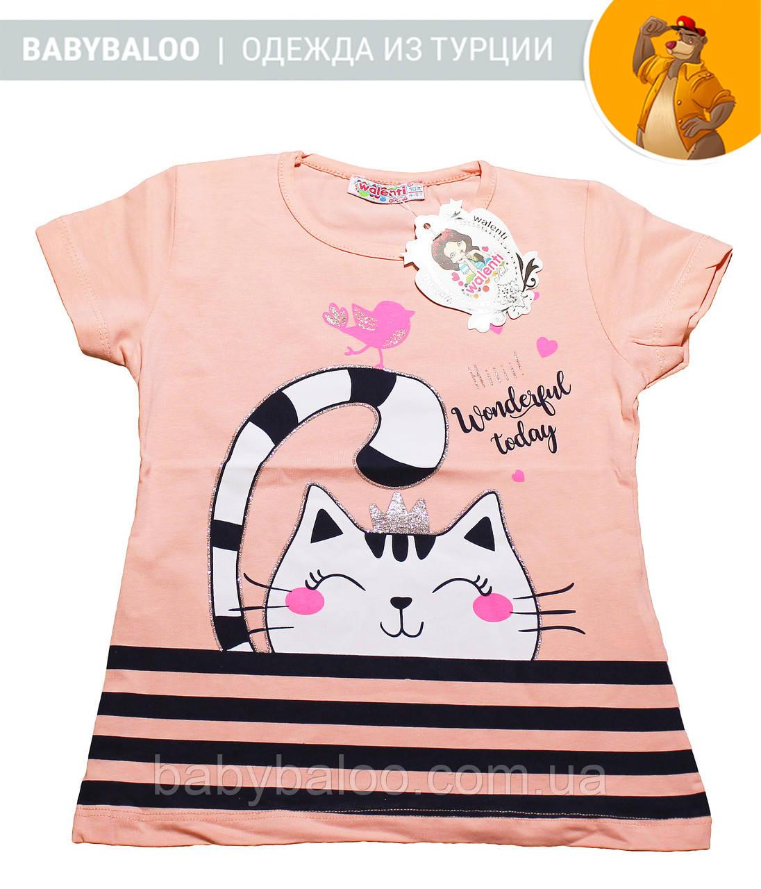 """Красивая футболка  для девочки """"Кошка"""" (от 1 до 4 лет)"""