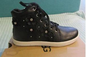 Стильные кожаные кеды ботинки сникерсы хайтопы UGG Schyler (Размер US6 24.5-25см)