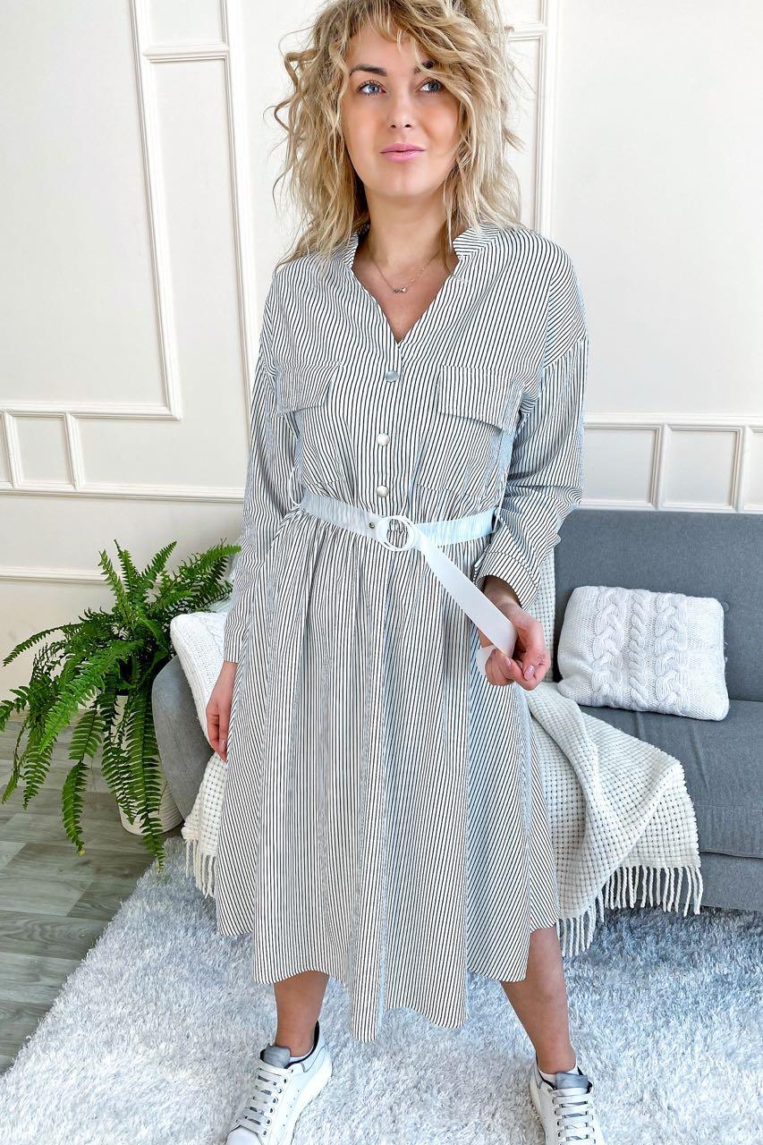 Стильное платье рубашка миди в полоску с поясом Aiyizu - белый цвет, S (есть размеры)