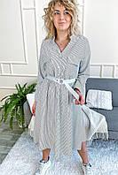 Стильное платье рубашка миди в полоску с поясом Aiyizu - белый цвет, S (есть размеры), фото 1