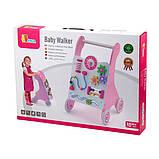 Детские ходунки-каталка Viga Toys с бизибордом, розовый (50178), фото 2