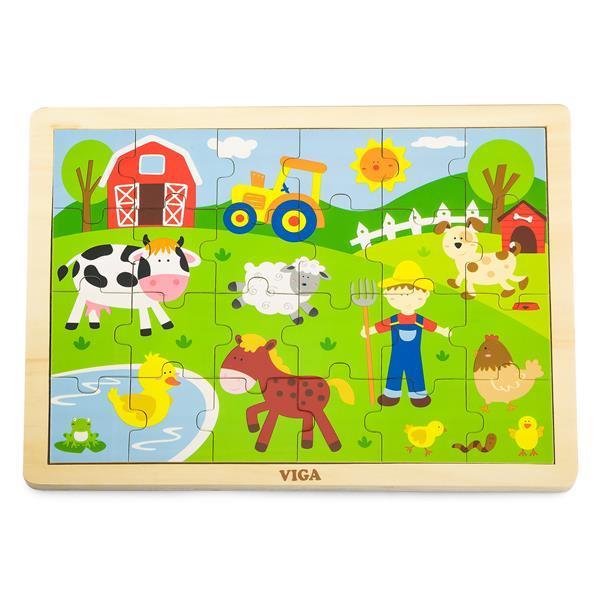 Деревянный пазл Viga Toys Ферма, 24 эл. (50197)
