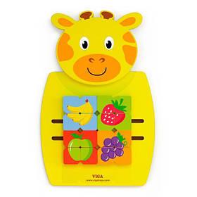 Бизиборд Viga Toys Жираф с фруктами (50680)