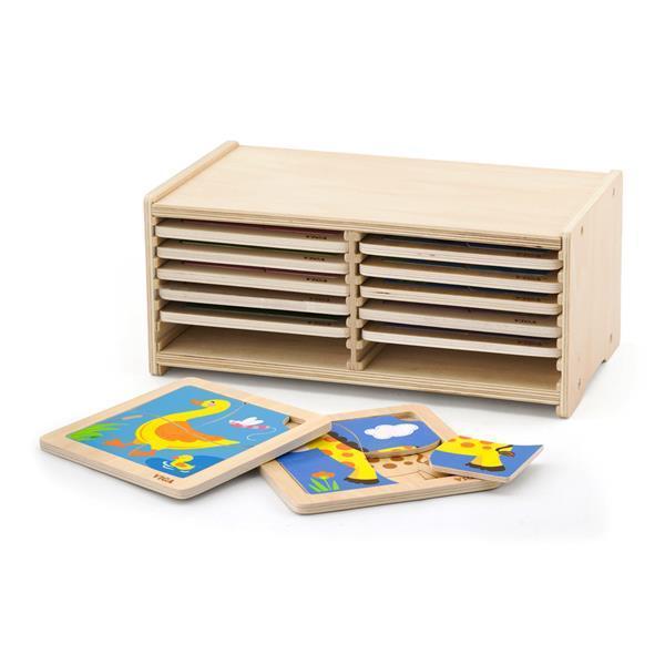 Набор деревянных мини-пазлов Viga Toys из 4 эл. со стойкой для хранения, 12 шт. (51424)