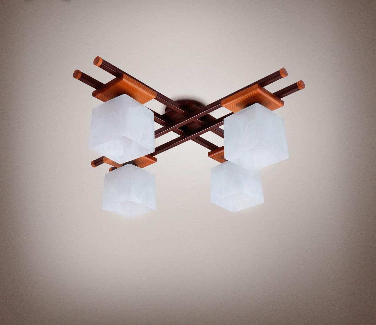 Люстра 4-х ламповая, металлическая, с деревом, спальня, зал, кухня, гостиная 14666-3