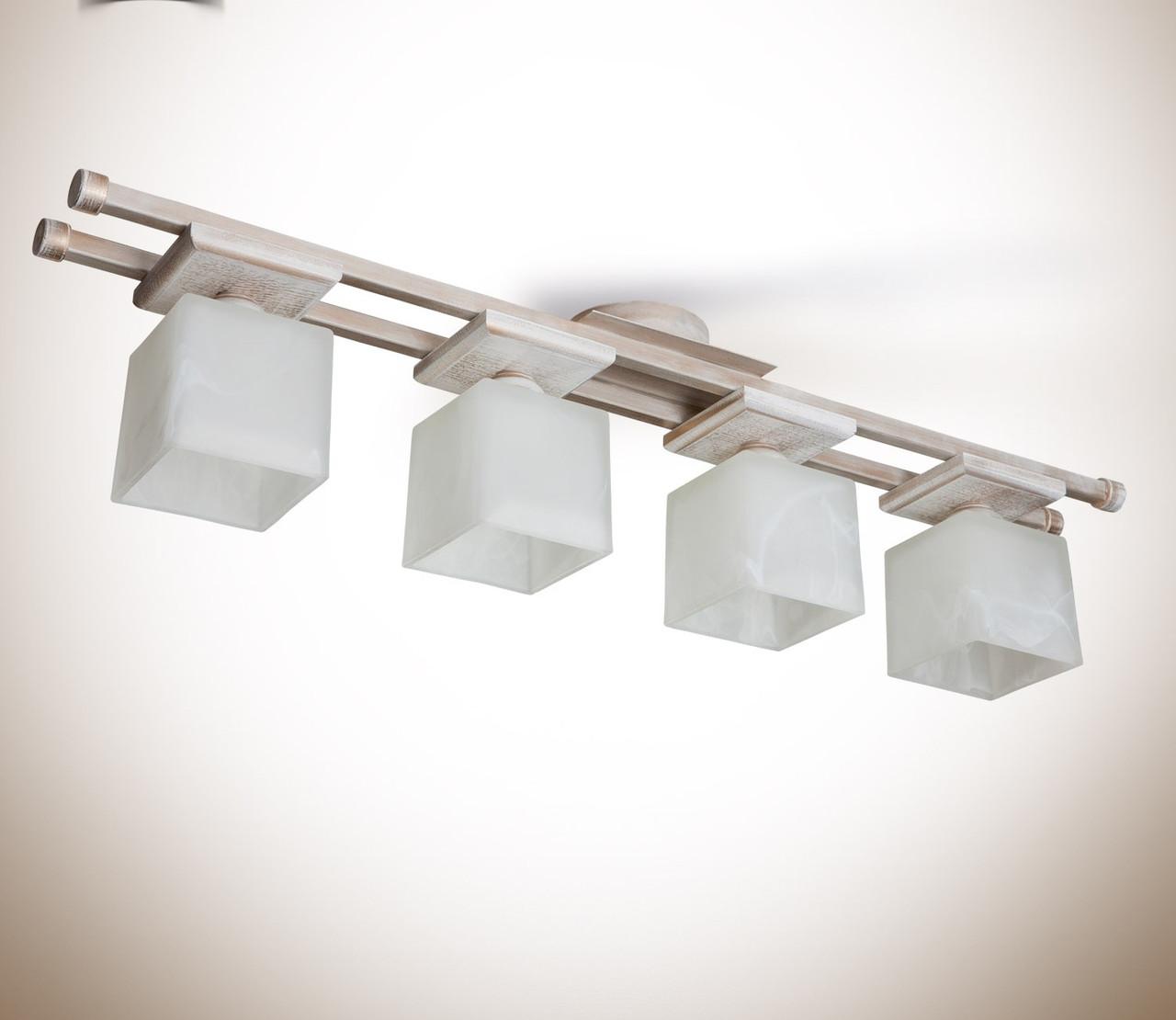Люстра 4-х ламповая, металлическая, деревянная, спальня, зал, кухня, коридор 14644-1