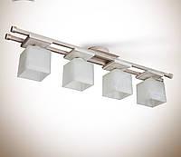 Люстра 4-х ламповая, металлическая, деревянная, спальня, зал, кухня, коридор