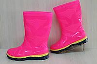 Резиновые сапожки на девочку, недорогие детские силиконовые сапоги цвет фуксия р. 35