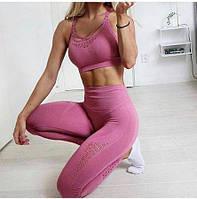 Розовый Костюм для фитнеса,женская  одежда для фитнеса