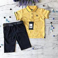 Летний желтый костюм на мальчика 51. Размер 4 года, 5 лет, 7 лет