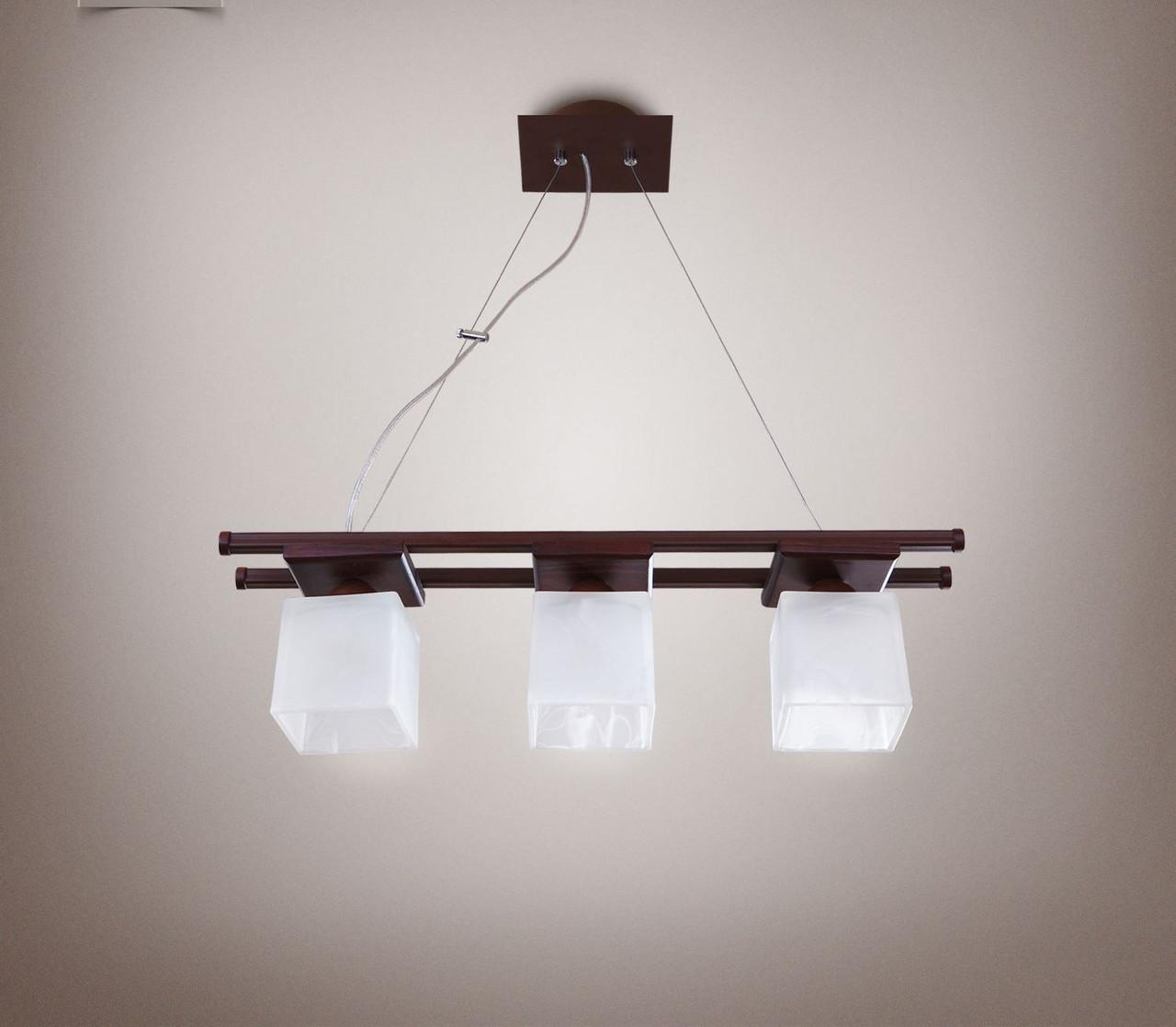 Люстра 3-х ламповая, металлическая, деревянная, спальня, зал, кухня, коридор 14603
