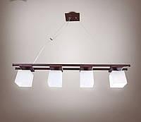 Люстра 4-х ламповая, металлическая с деревом, спальня, зал, кухня, коридор