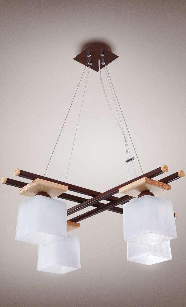 Люстра 4-х ламповая, металлическая с деревом, спальня, зал, кухня, коридор 14606