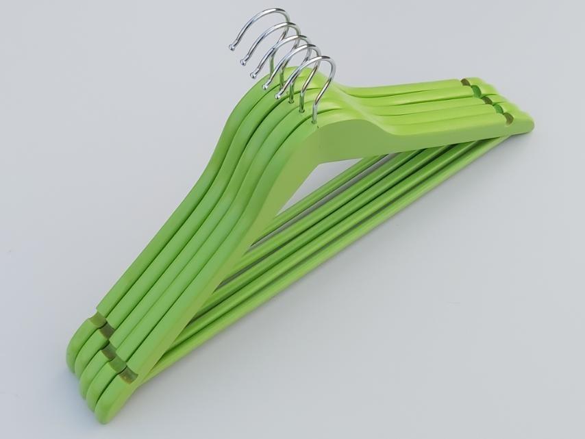 Плечики длиной 45 см деревянные зеленого цвета, 5 штук в упаковке