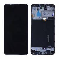 Дисплей модуль для Samsung A105F Galaxy A10 (2019) в зборі з тачскріном, чорний, з рамкою