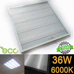 Светодиодная LED панель НАКЛАДНАЯ И ВСТРАИВАЕМАЯ 600x600 мм PRISMATIC 36Вт 6000-6500К серия ECO(упаковка 4 шт)