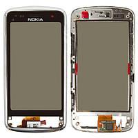 Touchscreen (сенсорный экран) для Nokia C6-01, c передней панелью, оригинал (черный)