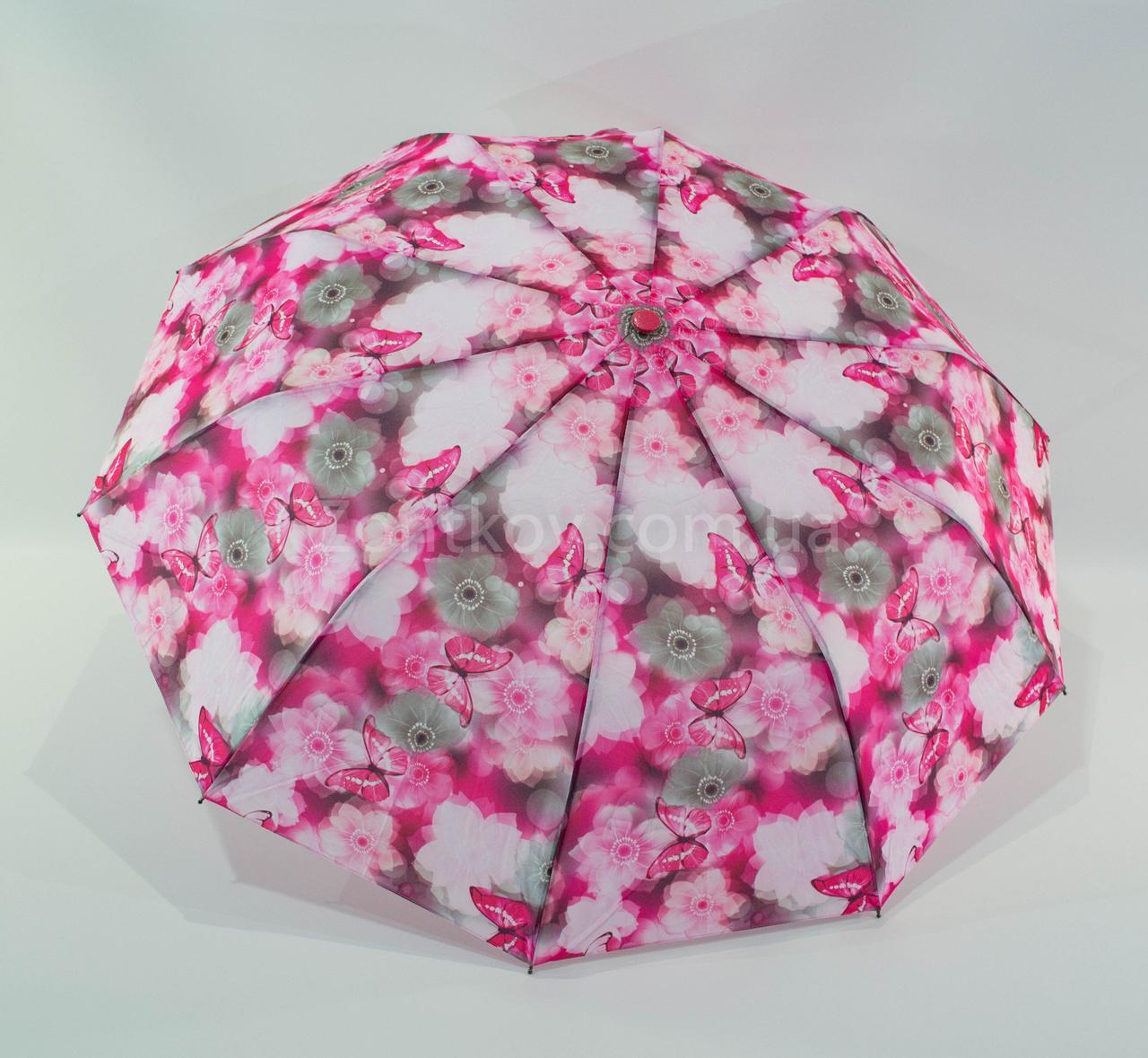 Женский складной зонт полуавтомат SL на 10 спиц с бабочками