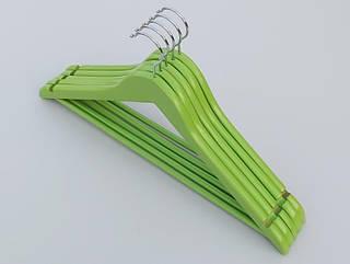 Плечики длиной 45 см деревянные зеленого цвета,  в упаковке 5 штук