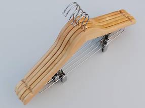 Плечики  длиной 44 см деревянные светлые костюмные,  в упаковке 5 штук, фото 3