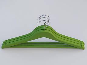 Плечики длиной 45 см. Деревянные soft-touch обрезиненные зеленого  цвета, в упаковке 3 штуки, фото 2