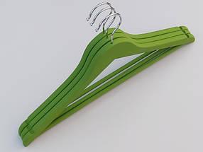Плечики длиной 45 см. Деревянные soft-touch обрезиненные зеленого  цвета, в упаковке 3 штуки, фото 3