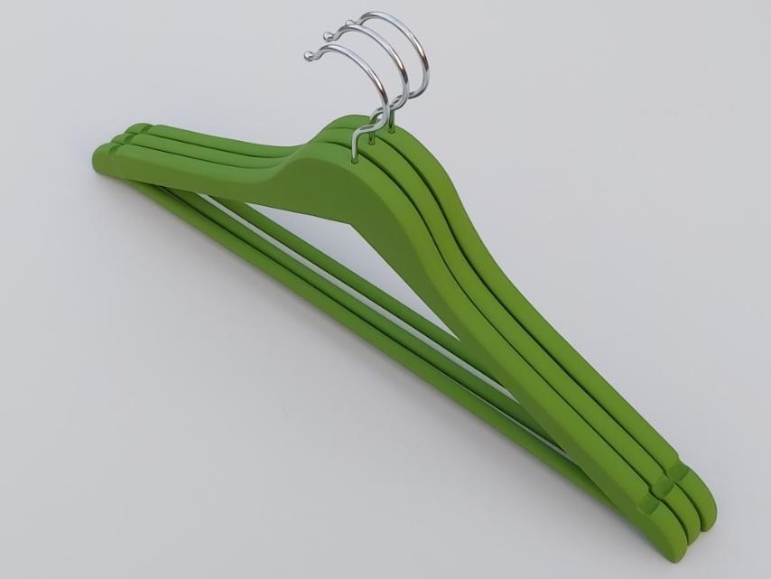 Плечики длиной 45 см. Деревянные soft-touch обрезиненные зеленого  цвета, в упаковке 3 штуки
