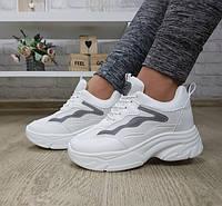 Кроссовки женские белые на массивной подошве, фото 1