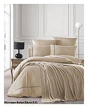 Комплект постельного белья  first choice евро размер c пледом Nirvana salsa ekru