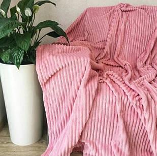 Покривало плед смужка Шарпей Євро 200х230 см Рожеве
