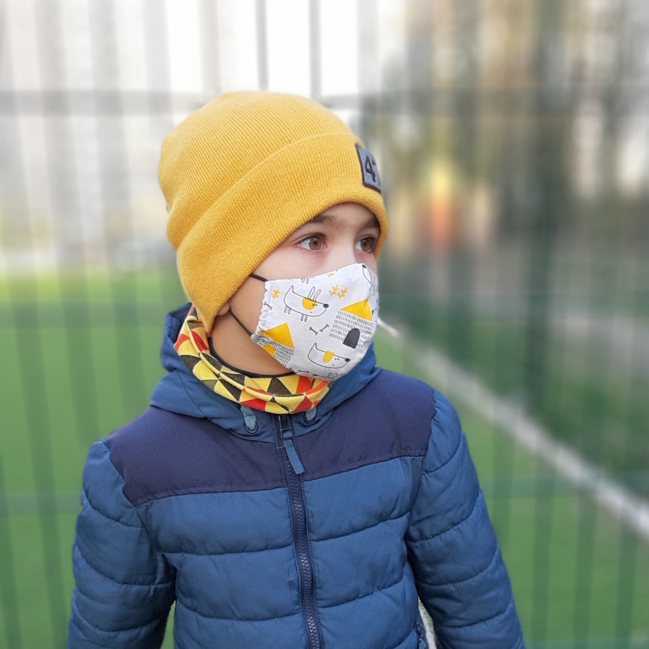 Маска защитная двухслойная хлопковая многоразовая детская в трех размерах