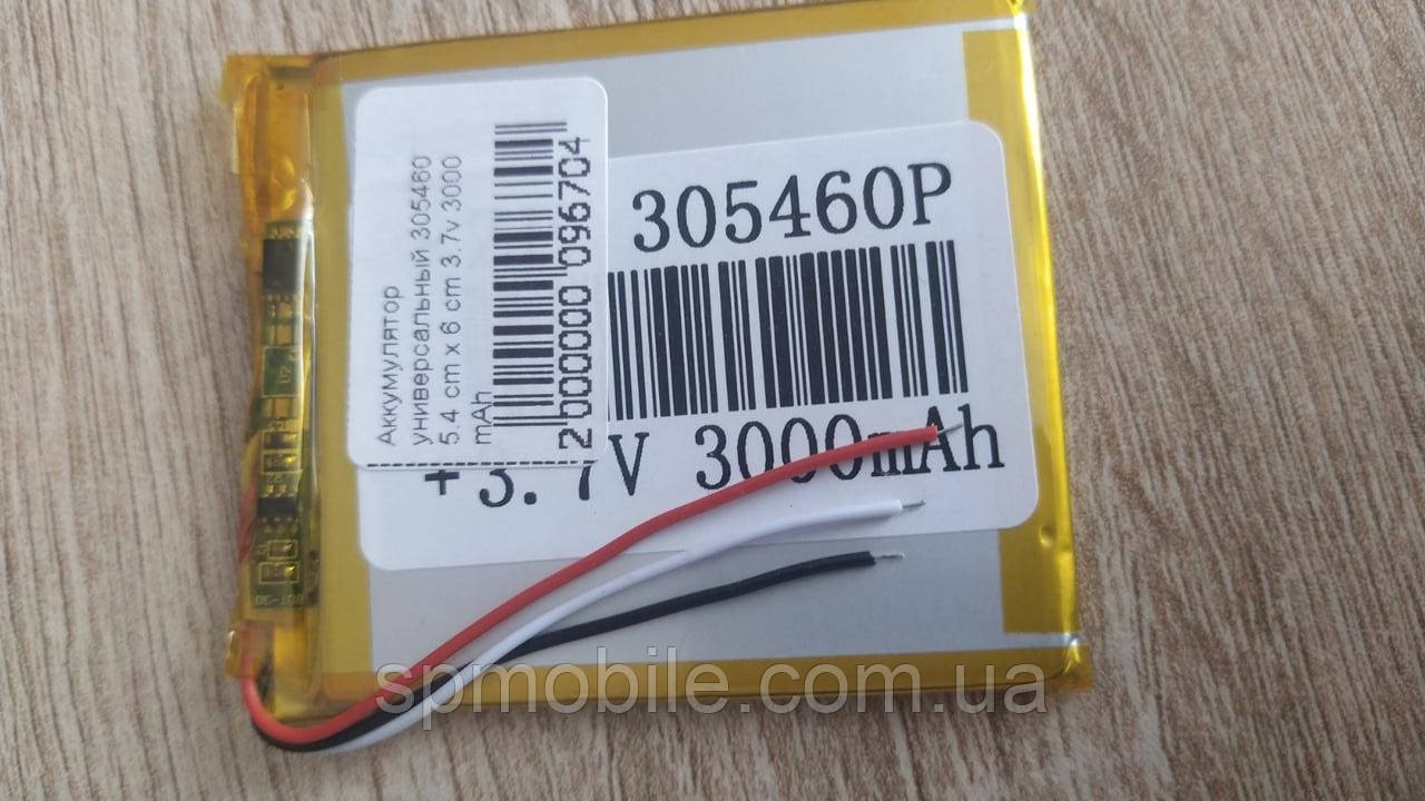 Аккумулятор 305460 для China (Li-ion 3.7в 3000 mah) (54*60*3мм) 2 контакта