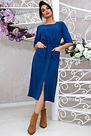 Стильное женское платье со шнурком на поясе 4044, в расцветках  (42-48) синий