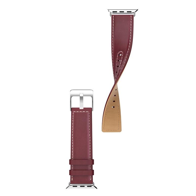 Kожаный ремешок Hoco WB04 Duke series для Apple Watch Series 1/2/3/4 (42/44mm) Wine Red