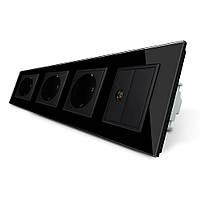 Розетка четырехместная комбинированная Силовая ТВ Livolo черный стекло (VL-C7C3EU1VK0-12)