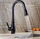 КОМПЛЕКТ Смеситель кухонный черный дозатор для моющего средства 0722, фото 4