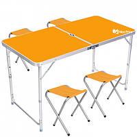 Стол для пикника раскладной со 4 стульями Folding Table 120х60х55/60/70 см 3 режима высоты Оранжевый