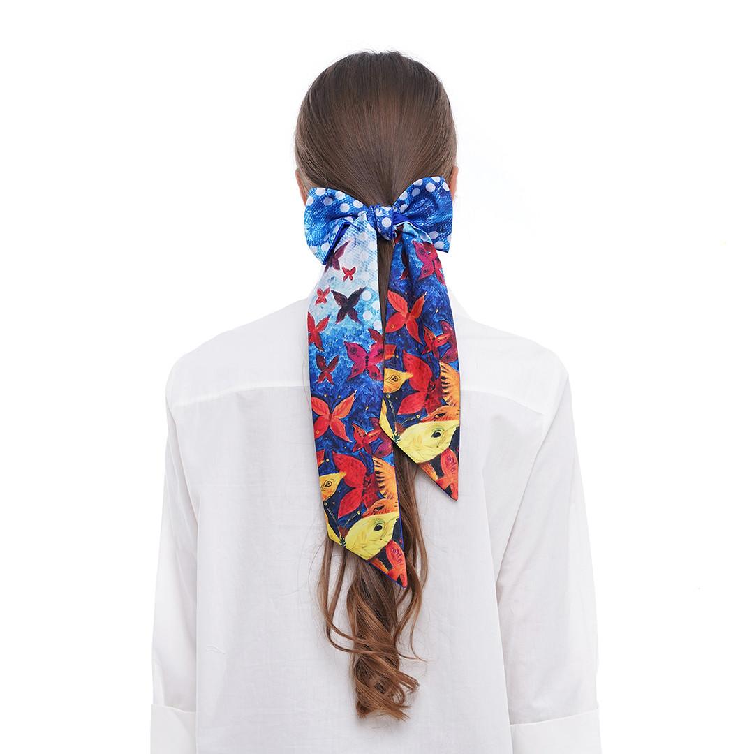 "Твилли - дизайнерський шарфик краватка ""Яскраві метелики"", стрічка для волосся"