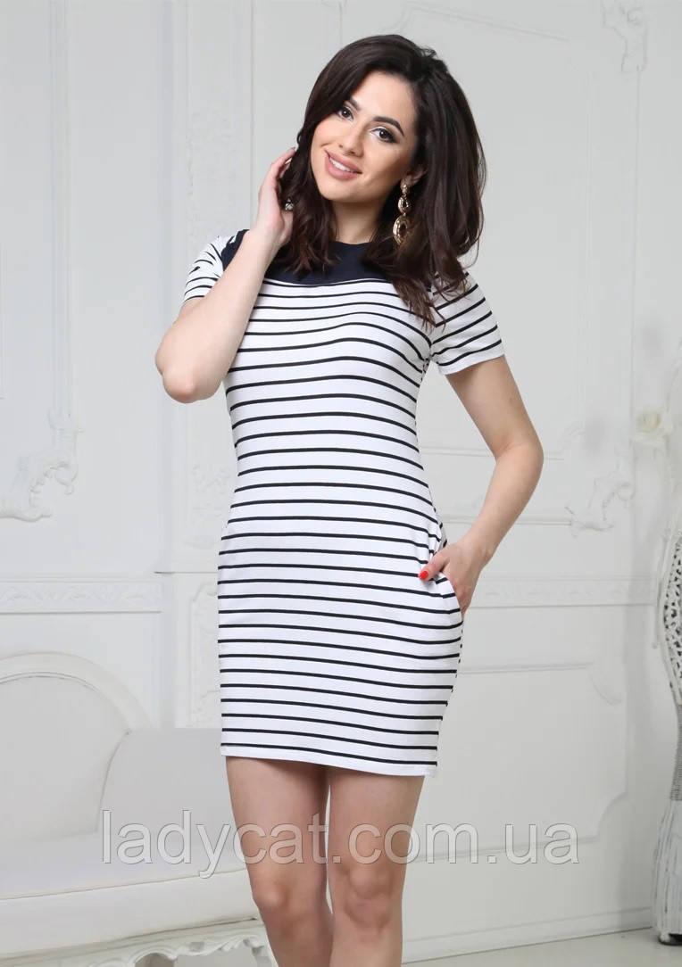 Жіноче літнє коротке плаття в смужку з кишенями біле