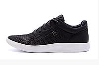 Чоловічі шкіряні літні кросівки, перфорація 602 к. чорні