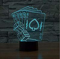 """3D светильник ночник """"Покер"""""""